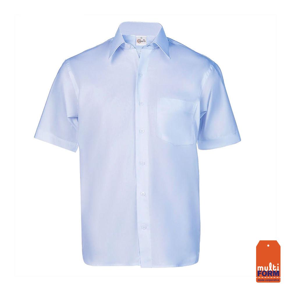 a5ce838157 Camisa Masculina Manga Curta Azul Clara