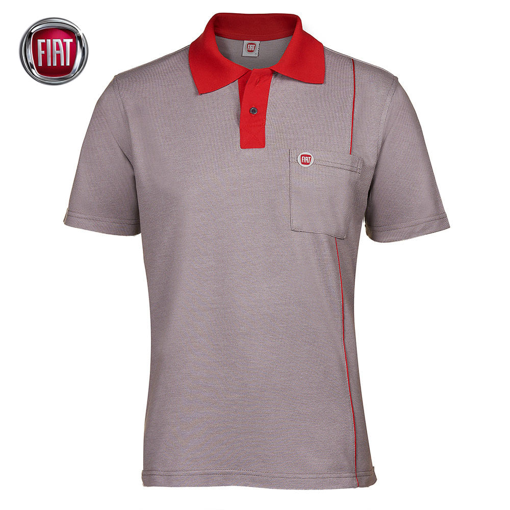 Camisa Polo Masculina Cinza Fiat  50d45be1a0c6d