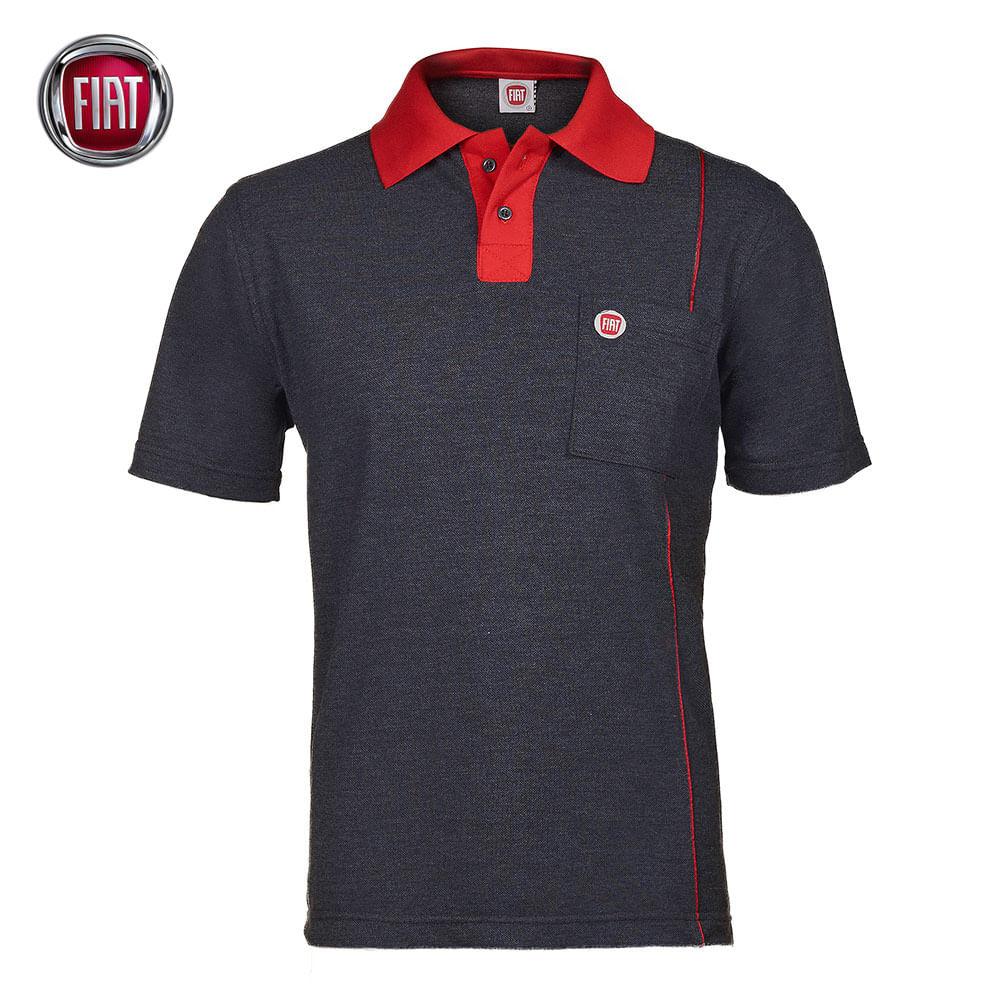 a98b2b88a3 Camisa Polo Masculina Preta Mescla Fiat