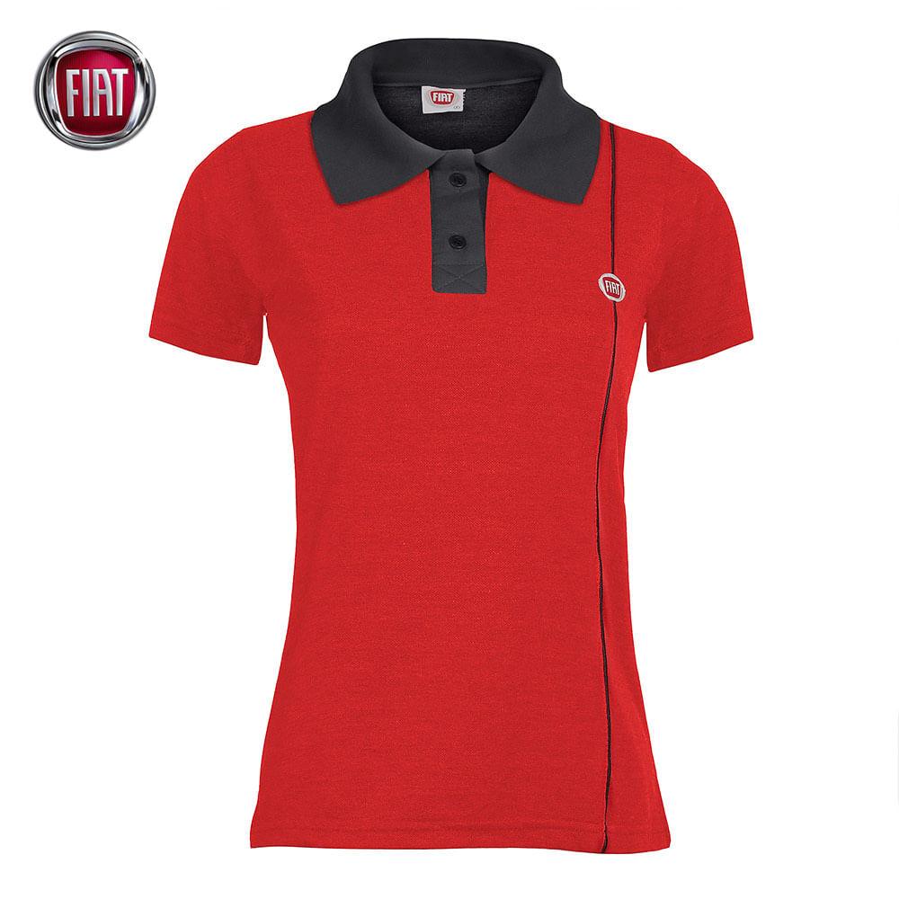 28f527c8db Blusa Polo Feminina Baby Look Vermelha Fiat - 4030060