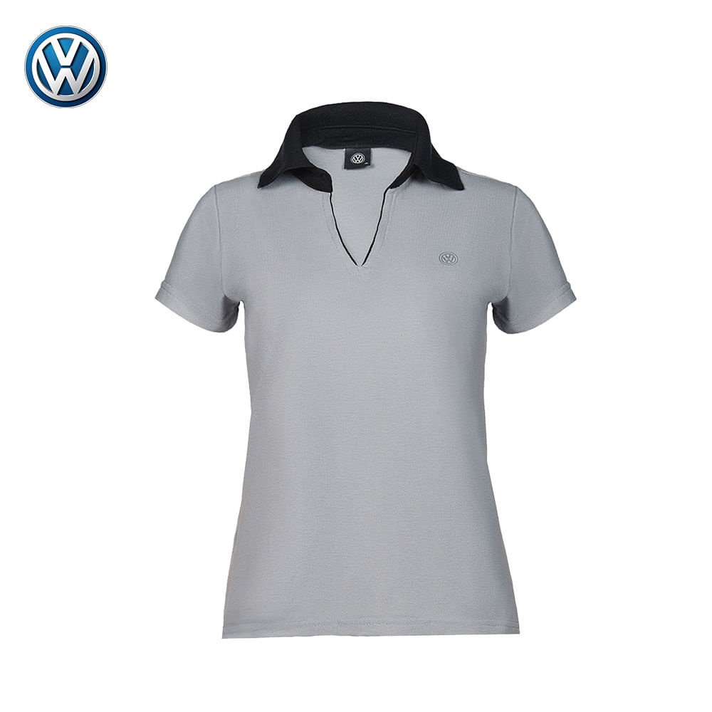 Blusa Polo Feminina Cinza com gola Preta Volkswagen - 17.01.0035 d9a240e3f59c0