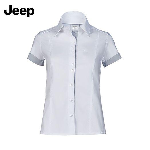 769ccf7bbf Blusa Social Manga Curta Feminina Jeep Branca   Cinza Jeep