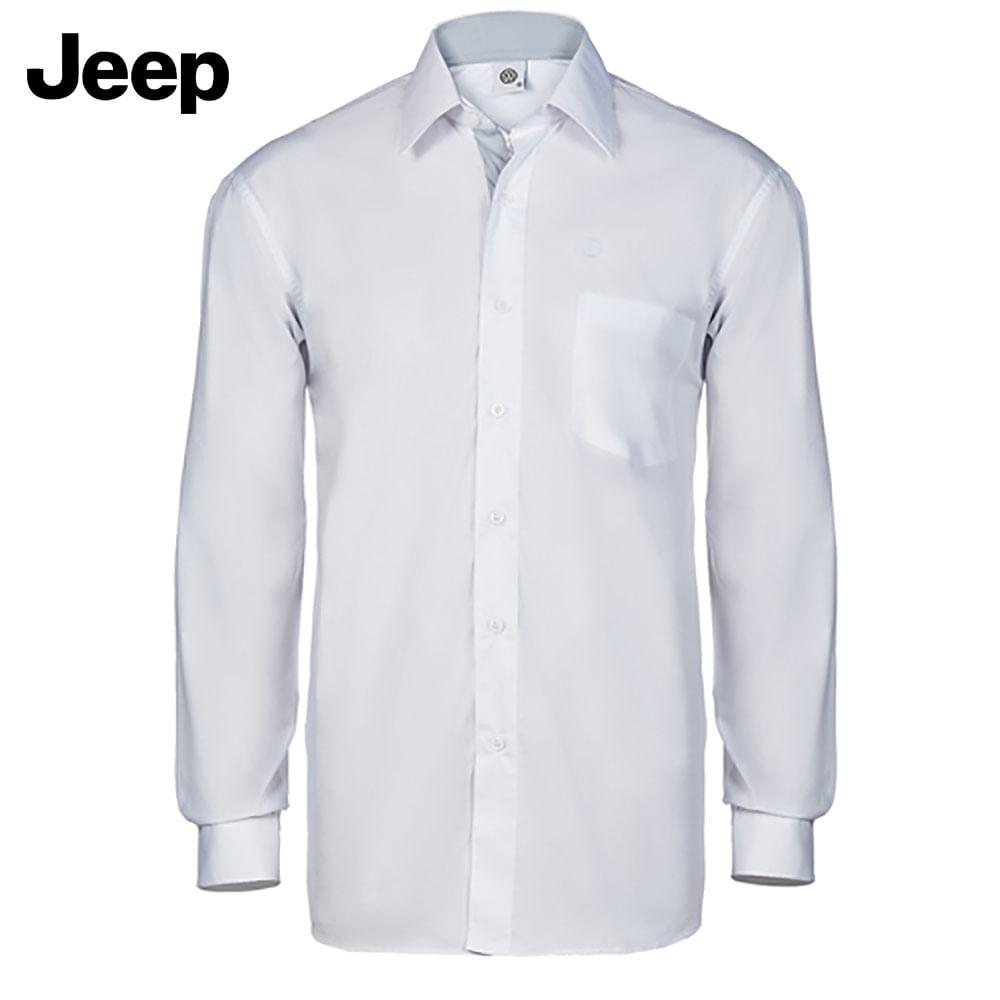 4dc87c8e4c Camisa Social Manga Longa Masculina Jeep Branca   Cinza Jeep - 18.01.0054