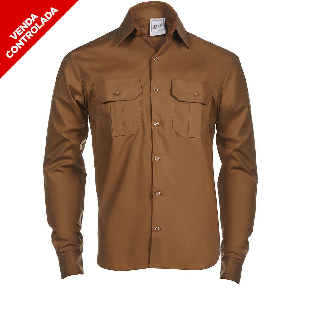 5bac63f68b Camisa Social Marrom M L Masculina - Citerol